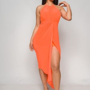 Dresses & Skirts - Neon Orange Asymmetrical Dress